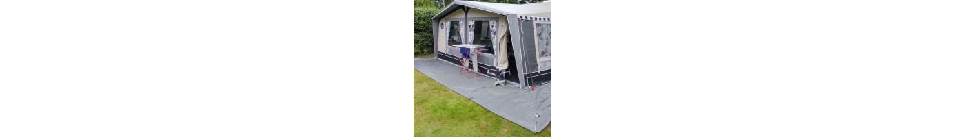 tentdoek wordt vooral toegepast onder de tent / caravan ter bescherming van het tentzeil , als grondzeil onder de luifel / partytent